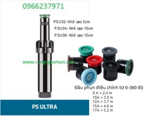 Vòi tưới hunter PSU thiết kế ưu việt, có nhiều lựa chọn bán kính phun từ 2-5 mét, góc phun tùy chỉnh từ 0-360 độ