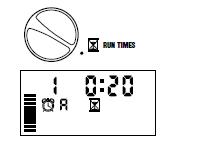 Màn hình hiển thị tại mục Run Time 1- là cổng số 1 (van 1) 0:20 là thời gian mà cổng này mở (20 phút) A là đang chạy của chương trình A